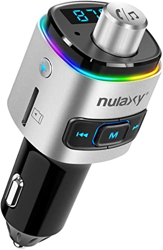 Nulaxy Bluetooth FM Transmitter for Car, 7 Color LED Backlit W QC3.0 Fast Car Charger Support Siri Google Assistant, ...
