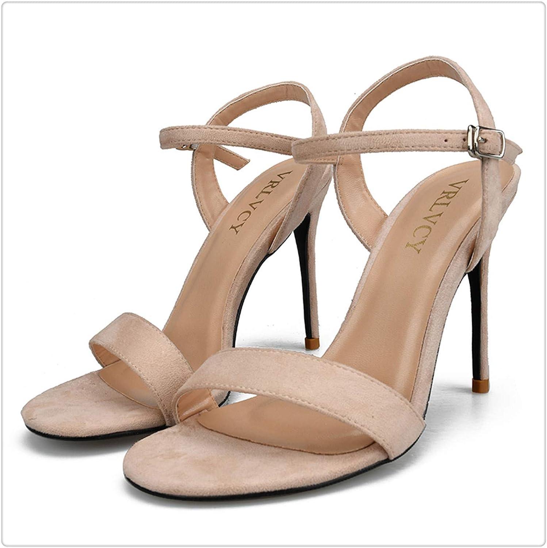 Yyixianma Women Sandals 2017 SummerHigh Heels Sandals Nude Heels Sandals Women Concise Suede Party Dress shoes Woman Beige 5