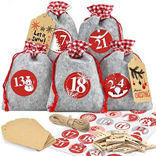 Dusor Adventskalender zum Befüllen, 24 Säckchen aus Filz, Adventskalender Zahlen Aufklebern, Weihnachtskalender zum Selber Dekorieren, Geschenksäckchen, Adventskalender 2021 Kinder