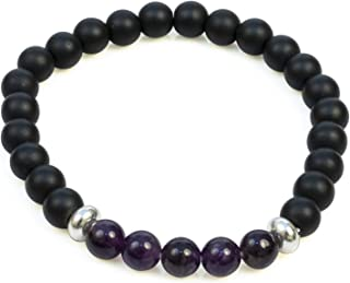 Divine Magic Amethyst and Obsidian Real Natural Chakra Healing Crystal Gemstone Stones Bracelet Unisex Purple Jewelery | C...
