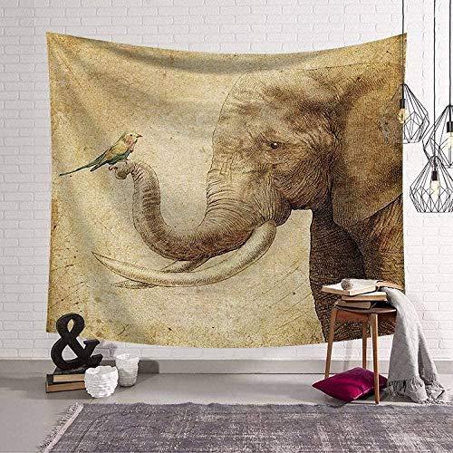 TJJY Wandbehang Bohemian Hippie Tapisserie Wandbehang Retro Vogel und Elefant Große Polyester Stoff Art Deco Wohnzimmer Schlafzimmer-150x150cm