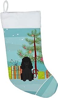 Caroline's Treasures Merry Christmas Tree Poodle Black Stocking, Large, Multicolor