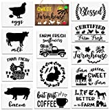 12 Pieces Farmhouse Stencils for Painting on Wood Reusable, Large Farm Chicken Horse Cow Sheep Stencils Style for Signs Wall Floors Crafts Drawing Decor
