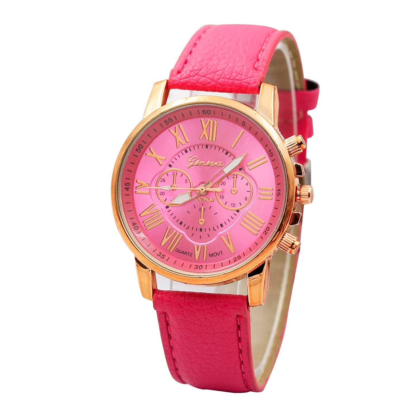 Fashion Women's Watches Geneva Roman Numerals Faux Leather Analog Quartz Watch for Girls Women Gift Holiday Present