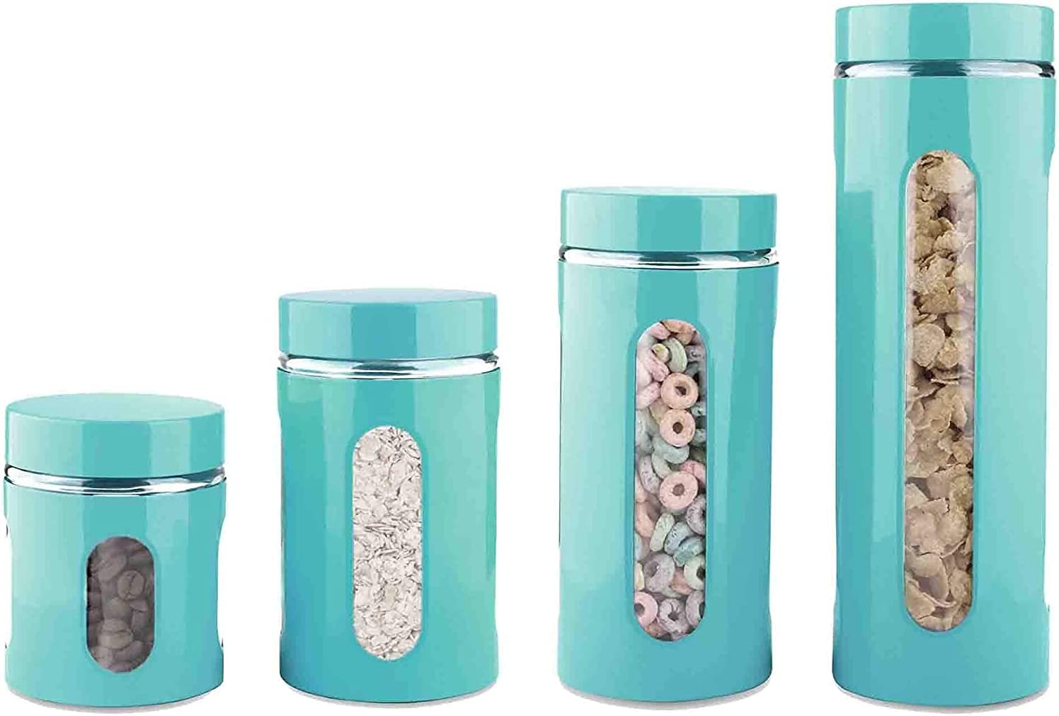 4 Piece Stainless Steel Coated Windows Canister Glass with Popular product Max 47% OFF Set