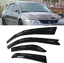 ARICWJ 4pcs Out-Channel Style for 2002-2006 Mitsubishi Lancer Sun Rain Guard Vent Shade Side Window Wind Deflectors Window Visors