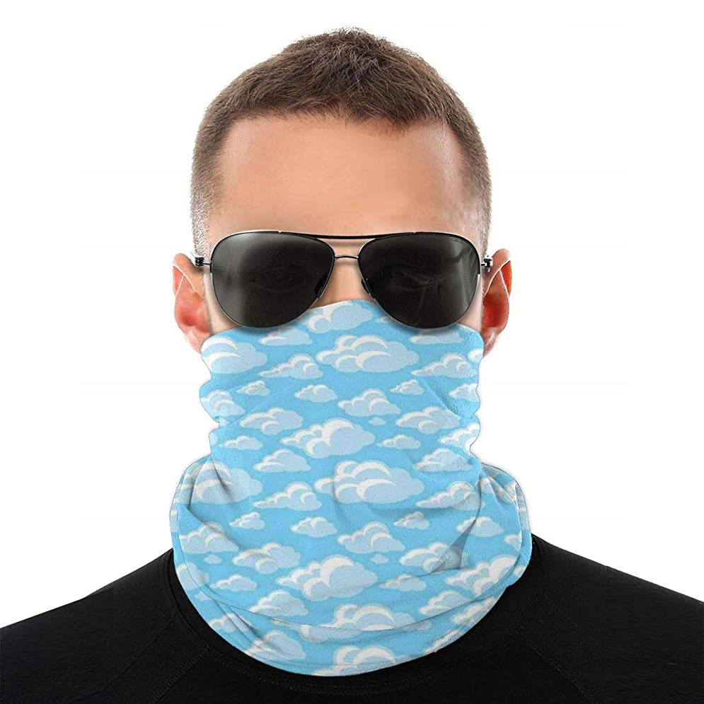 自明怒り全くMultifunctional Bandana Face Cover 多機能バンダナフェイスカバー,Cartoon Illustration Of Bubbly Cloud Cumulus Floating On Soft Blue Sky,S...