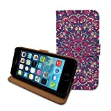 HELLO GIFTIFY HelloGiftify Mandala Floral Print flip Leather case with Card Slot. Compatible with iPhone 5c (Pink)