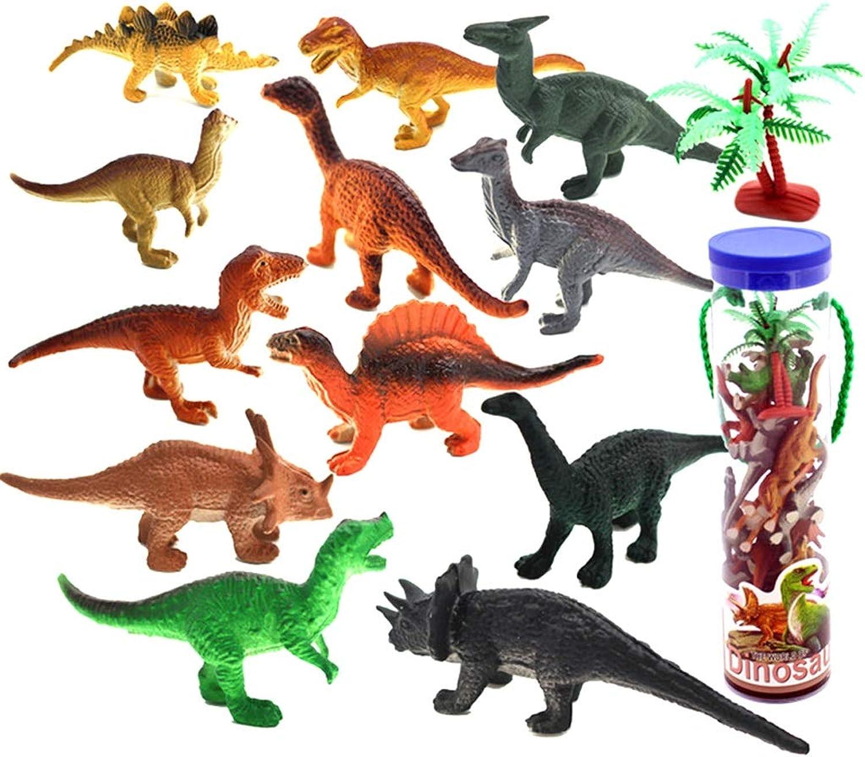Mini Simulation Dinosaur Model Bottled Dinosaur Toy Set Plastic Dinosaur Doll Toy Boy Toy (12 Packs)