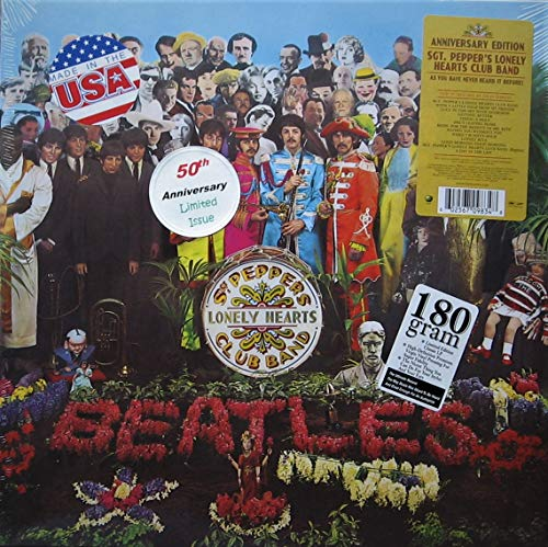 The Beatles ' Sgt. Pepper's Lonely Hearts Club Band ' 50th Anniversary Issue (New Stereo Mix) Vinyl LP Rolling Stone 500 Greatest Albums of All Time - Rated 1/500! (w/ STICKERS as Shown)