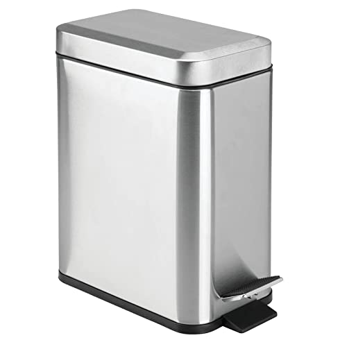 mDesign 1.3 Gallon Rectangular Slim Profile Metal Step Trash Can Wastebasket, Garbage Container Bin, Bathroom, Powder Room, Bedroom, Kitchen, Craft Room, Office - Removable Liner Bucket - Brushed