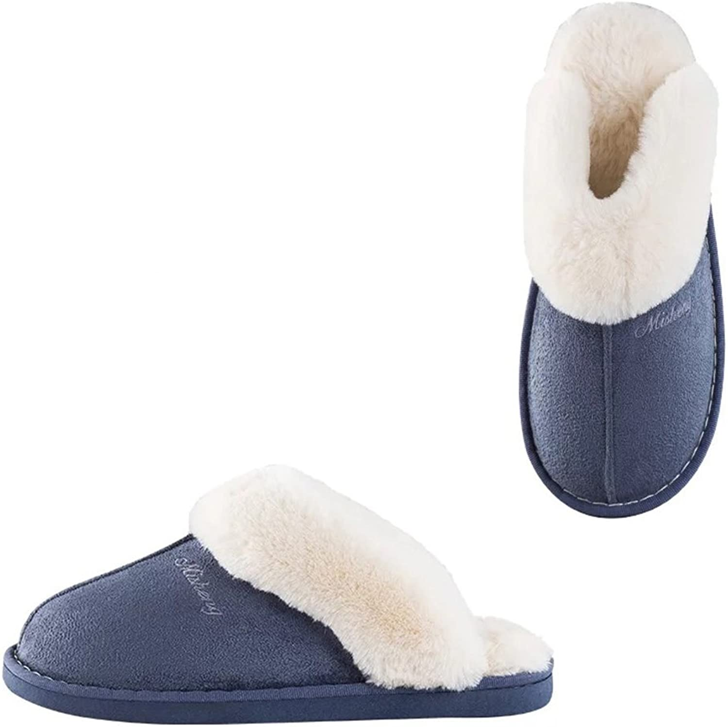 Misolin Womens Slipper Memory Foam Fluffy Slip-on House Suede Fur Lined Anti-Skid Sole, Indoor & Outdoor