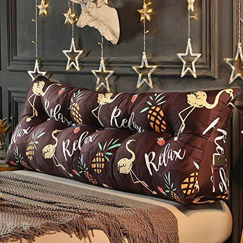 KWOPA - Almohada de lectura triangular con soporte lumbar para cama, cómoda y gran respaldo, cojín de cabecera, con cremallera y bolsillos, 150 cm