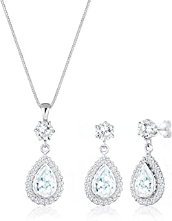 Elli Women Drops Zirconia 925 Sterling Silver Jewelry Set