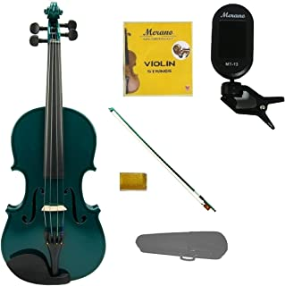 Merano 1/2 Size Green Violin with Hard Case, Green Stick Bow+Free Rosin+Extra Set of Strings+Merano Chrometic Clip On Tuner