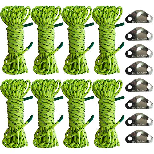 BareFour Guyline Tent Rope Double-Reflective with 3-Eye Rope Tensioners, 8-Pack Light Tent Cord for Camping Hiking Backpacking