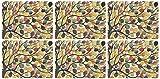 Pimpernel - Juego de 6 salvamanteles (30.8 x 23.2 cm, tablero de densidad media, base de corcho), diseño de árboles, multicolor
