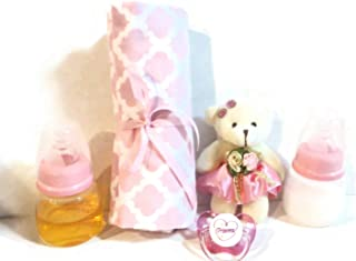 2 Reborn Baby Doll Bottles 2oz Pink (Styles Vary) Fake Milk Juice + Bear + Blanket (Designs Vary) + Princess Heart Pacifier + Putty + Instructions OOAK Ages 8 YRS + This is A Prop - NOT A Toy