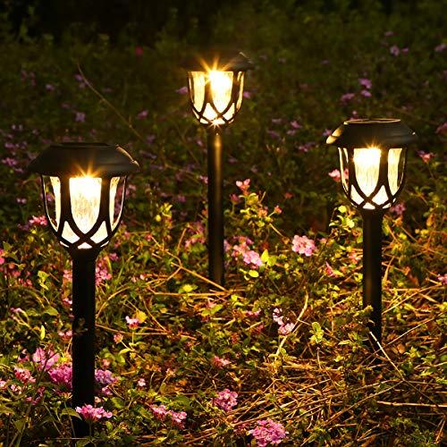 Görvitor Solarleuchten Garten, LED Warmweiß Solarlampen für Außen, IP45 Wasserdicht Solar Wegeleuchte Gartenleuchte Dekorative Licht für Garten Rasen Gehweg Balkon Landschaft (6 Stück)