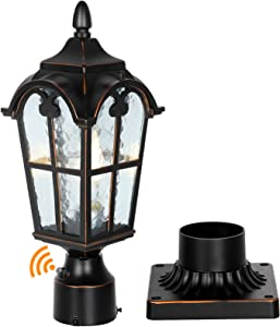 Dusk to Dawn Black Roman Outdoor Post Light with Pier Mount Base, Waterproof Pole Lantern Light Fixture, Exterior Lamp Post Lantern Head with Clear Glass Panels for Garden, Patio, Pathway
