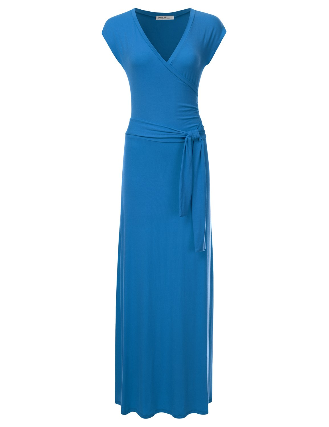 Available at Amazon: NINEXIS Women's V-Neck Cap Sleeve Waist Wrap Front Maxi Dress