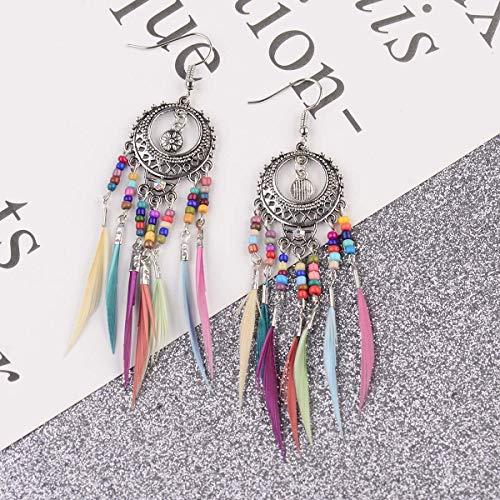 Pendientes colgantes de borla de plumas geométricas bohemias para mujer Chica flecos pendientes largos pendientes Pendientes azul claro