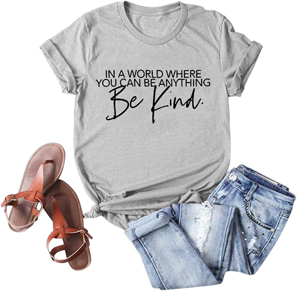 FABIURT T-Shirt for Women,Womens Summer Casual Be Kind Printed T Shirts Loose Short Sleeve Round Neck Graphic Tees Tops