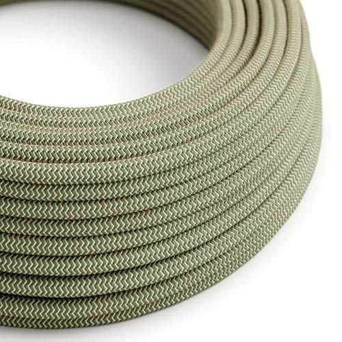 creative cables Textilkabel rund, Zick-Zack Muster, thymiangrün natürliche Baumwoll Leine, RD72-5 Meter, 2x0.75