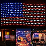 xiyuan String Light LED Colored Lamp, 420 American Flag Lights Outdoor, Waterproof Net Lights Super Bright for Party Decor, Garden, Yard, Festival, Memory Day, Independence Day, National Day