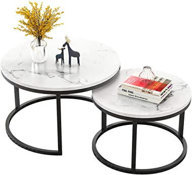 Simple Round Nesting Coffee Tables   Living Room Sofa Side End Tables with Black Metal Frame   Home Decor Sets (White, Set of 2)