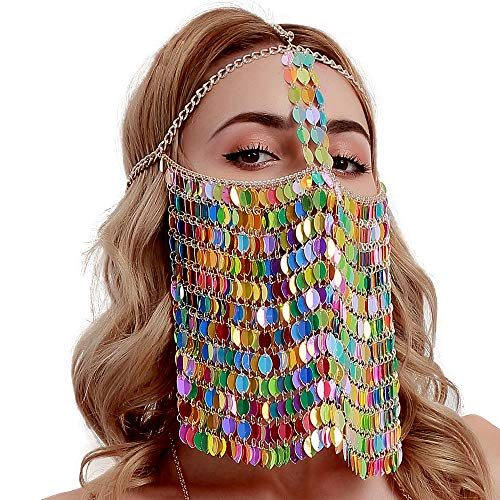 Ingemark Statement Egyptian Belly Dance Face Mask for Women Fancy Dress Costume Headwear Sequin (Colorful Sequin)