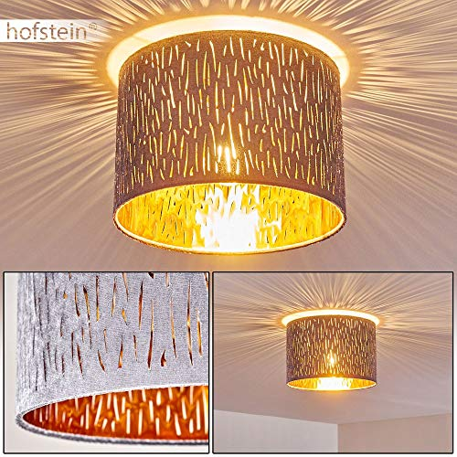 Deckenleuchte Liared, runde Deckenlampe mit Lampenschirm aus Samt in Grau/Gold, Ø 30 cm, 1-flammig, 1 x E27-Fassung max. 40 Watt, Retro/Vintage Design m. Lichteffekt, LED geeignet