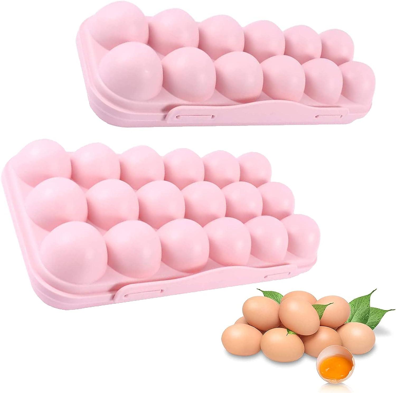 Caja Almacenamiento De Huevos 2 Piezas Cartón De Huevos Plástico Bandeja De Huevos Apilable Con Tapa Huevera Para El Frigorífico 12 + 18 Núcleos Resistentes Al Desgaste Sellados y a Prueba De Polvo