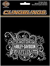 HARLEY-DAVIDSON Bar & Shield Filigree Cling Bling Silver Window Decal CG1120