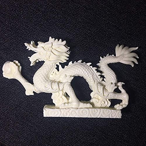 J-Clock Estatua estatuilla dragón Chino Feng Shui, decoración la Oficina en casa, Adornos Mesa para la Riqueza y el éxito, Regalos Buena Suerte, Color Blanco