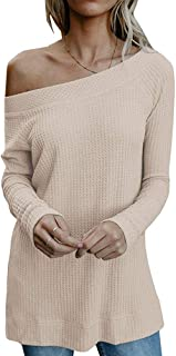 YEXIPO Womens Off The Shoulder Oversized Tops Long Sleeve Waffle Knit Blouse Loose Fall Pullover Sweater