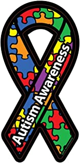 NI283 Autism Awareness Ribbon Car Decal Sticker | Premium Quality Vinyl Decal | 7-Inches X 3-Inches