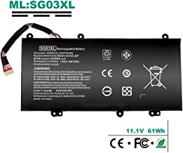 849049-421 SG03XL 11.5V 61.6WH New Battery Replacement for HP Envy M7 M7-U 17 17-U Series Laptop fit M7-u009dx M7-u109dx 17-u011nr 17-u163cl 17-u177cl Spare 849314-856 849315-850 HSTNN-LB7E w2k88ua
