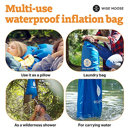 WISE MOOSE Sleeping Pad - 4.5 Inch Thick Camping Mattress, Ultralight Camping Pad, Inflatable Tent Mat for Backpacking, Hiking - Inflating Bag and Repair Kit Included