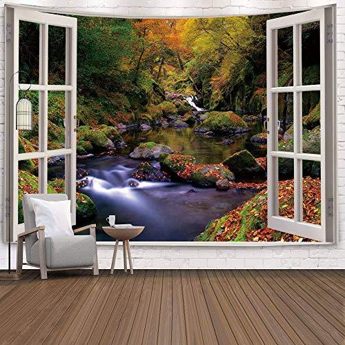 Fenster Tapisserie Ansicht Grüne Pflanzen 3D Sea Flower Wandbehang Decke Tagesdecke Yoga Handtuch Strand Wanddekoration Tapisserie A9 130x150cm