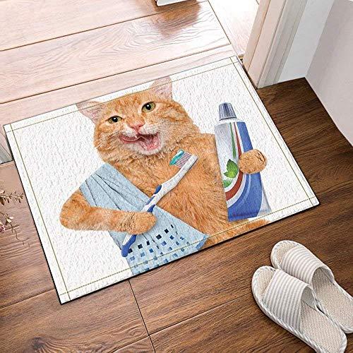 xuelizhou Geel Leuke Kat Blauw Handdoek Blauw Tandpasta Wit Tandenborstel op Witte Achtergrond Badkamer mat deurmat anti-slip vloer indoor ingang kinderen 40x60CM accessoires