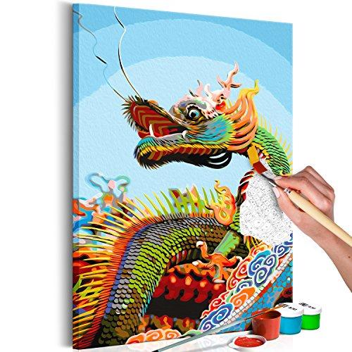 murando - Malen nach Zahlen Drache Dragon 40x60 cm Malset mit Holzrahmen auf Leinwand für Erwachsene Kinder Gemälde Handgemalt Kit DIY Geschenk Dekoration n-A-0474-d-a