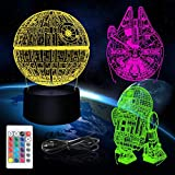 3D Star Wars Night Light 3 Pattern 3D Illusion Star Wars Lamp 16 Color Change Decor Table Lamp LED Night Star Wars Toys Gifts for Kids Boys Girls Men Women Star Wars Fans Birthday Decorations