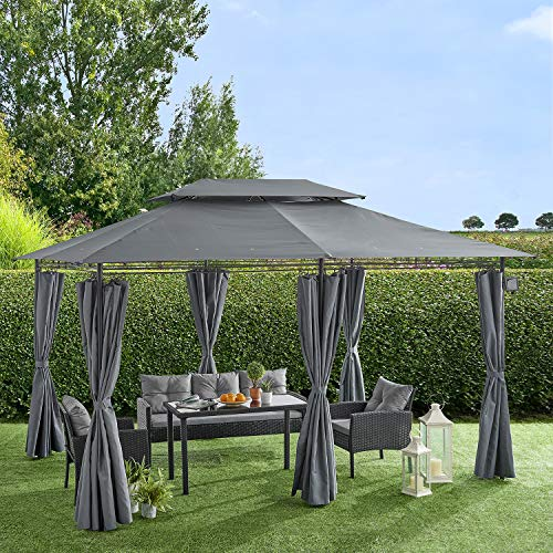 Cherry Tree Furniture 3 x 4m Gazebo with Curtains Canopy Party Tent with 60pcs Solar LED Lights