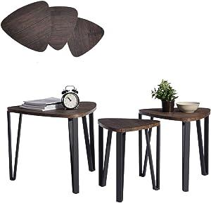 Aingoo Nido de 3 mesas Mesa de centro de madera Mesa de mesa de extremo con pierna de metal, marrón oscuro
