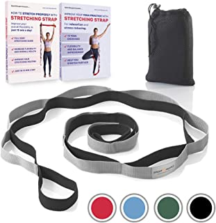 Sport2People Most Durable Stretching Strap for Yoga,  Flexibility and Rehabilitation. 2 Free Exercise Ebooks. 12-Loop Rehab Stretch Band Recommended by Physical Therapists and Trainers