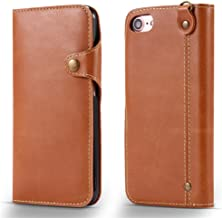 iPhone 7 Case, JWISLAND(TM) Button PU Leather Case [ 3 Card Slots ] [Wrist Strap] Flip Wallet Cover for iPhone 7 [4.7 inch] (Brown)