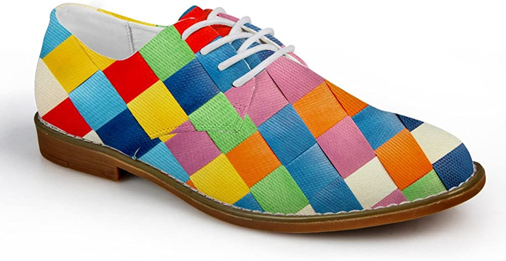 HUGS IDEA Plaid Men's Fashion Oxford Dress Shoe