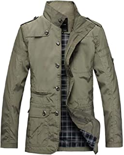 KYC-Bilcesa Men's Trenchcoat Stand Collar Regular Fit Warm Trench Coat Jacket Overcoat