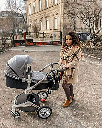 Hot Mom Pushchair 360 Rotation Function Baby Carriage Pu Leather Folding Portable Shockproof Travel System Pushchair Pram 2020(Dark Grey) HOT MOM 【360°ROTATION FUNCTION】 - The robust stroller frame can rotate 360°so that the pushchair attachments can be adjusted faster in both directions with one click.you can enjoy the mobility, flexibility and get the chance to discover the world with your baby 【INCREASE PU RUBBER WHEELS】 - The rear wheels use high-quality large tires, explosion-proof tires, puncture-proof, no inflation, front-wheel Pu rubber, non-slip, wear-resistant, with good shock absorption 【WATERPROOF PU LEATHER】 - Completely designed with Somatology Safety standard, 100% PU leather material of Egg Seat and Bassinet,High-grade waterproof,this perfect match feel more luxurious and fashionable and easy to clean.it can be easily cleaned with a wet wipe 7